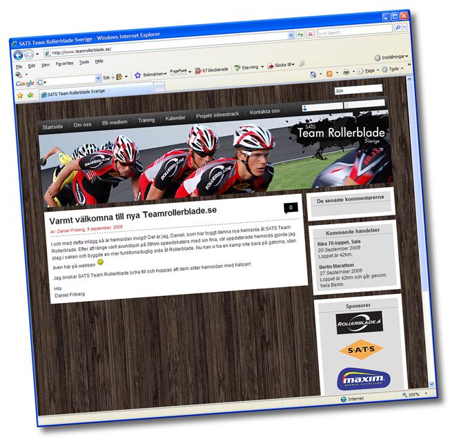SATS Team Rollerblades hemsida